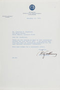 Autographs:Statesmen, Stanley K. Hathaway (Governor of Wyoming). Typed Letter Signed, onepage, November 21, 1972, governor's office stationery, t...