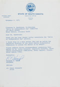 Autographs:Statesmen, Richard F. Kneip (Governor of South Dakota). Typed Letter Signed,one page, November 6, 1972, governor's office stationery, ...