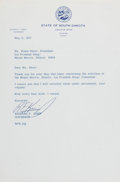 Autographs:Statesmen, Richard F. Kneip (Governor of South Dakota). Typed Letter Signed,one page, May 11, 1977, governor's office stationery, to M...
