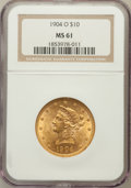 Liberty Eagles: , 1904-O $10 MS61 NGC. NGC Census: (193/206). PCGS Population(101/265). Mintage: 108,950. Numismedia Wsl. Price for problem ...