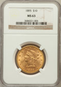 Liberty Eagles: , 1895 $10 MS63 NGC. NGC Census: (1588/190). PCGS Population(421/60). Mintage: 567,700. Numismedia Wsl. Price for problem fr...