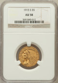 Indian Half Eagles: , 1915-S $5 AU58 NGC. NGC Census: (431/256). PCGS Population(119/251). Mintage: 164,000. Numismedia Wsl. Price for problem f...