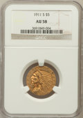 Indian Half Eagles: , 1911-S $5 AU58 NGC. NGC Census: (782/961). PCGS Population(271/875). Mintage: 1,416,000. Numismedia Wsl. Price for problem...