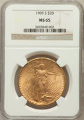 Saint-Gaudens Double Eagles: , 1909-S $20 MS65 NGC. NGC Census: (224/9). PCGS Population (301/8).Mintage: 2,774,925. Numismedia Wsl. Price for problem fr...
