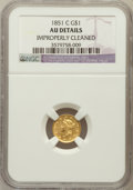 Gold Dollars: , 1851-C G$1 -- Improperly Cleaned -- NGC Details. AU. NGC Census:(10/325). PCGS Population (59/214). Mintage: 41,267. Numis...