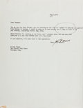 Autographs:Authors, James T. Farrell, American Author. Typed Letter Signed. Very good....