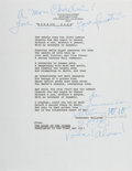 Autographs:Authors, Tennessee Williams, American Author and Playwright. Typed PoemSigned. San Francisco, circa 1981. Fine....