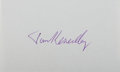 Autographs:Authors, Thomas Keneally, Australian Author. Signature on Small Card.Fine....