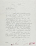 Autographs:Authors, James Jones, American Author. Typed Letter Signed. Very good....