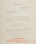 Autographs:Authors, Fannie Hurst, American Writer. Typed Letter Signed. Very good....
