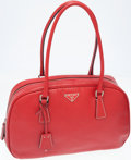 Luxury Accessories:Bags, Prada Red Leather Top Handle Bowler Bag. ...