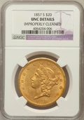Liberty Double Eagles: , 1857-S $20 -- Improperly Cleaned -- NGC Details. Unc. NGC Census:(10/264). PCGS Population (3/149). Mintage: 970,500. Numi...