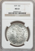 Morgan Dollars: , 1879 $1 MS63 NGC. NGC Census: (3153/4485). PCGS Population(3795/4374). Mintage: 14,807,100. Numismedia Wsl. Price for prob...
