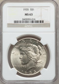 Peace Dollars: , 1935 $1 MS63 NGC. NGC Census: (1667/2768). PCGS Population(2214/3112). Mintage: 1,576,000. Numismedia Wsl. Price for probl...