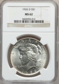 Peace Dollars: , 1926-D $1 MS62 NGC. NGC Census: (342/2240). PCGS Population(714/3630). Mintage: 2,348,700. Numismedia Wsl. Price for probl...