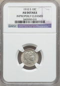 Barber Dimes: , 1910-S 10C -- Improperly Cleaned -- NGC Details. AU. NGC Census:(1/41). PCGS Population (2/87). Mintage: 1,240,000. Numism...