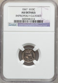 Seated Half Dimes: , 1847 H10C -- Improperly Cleaned -- NGC Details. AU. NGC Census:(1/159). PCGS Population (5/154). Mintage: 1,274,000. Numis...