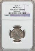 Liberty Nickels, 1894 5C -- Improperly Cleaned -- NGC Details. AU. NGC Census:(0/269). PCGS Population (7/402). Mintage: 5,413,132. Numisme...