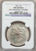 Morgan Dollars: , 1892 $1 -- Obv Improperly Cleaned -- NGC Details. UNC. NGC Census:(58/2855). PCGS Population (45/4334). Mintage: 1,037,245...