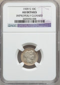 Barber Dimes: , 1909-S 10C -- Improperly Cleaned -- NGC Details. AU. NGC Census:(0/74). PCGS Population (3/65). Mintage: 1,000,000. Numism...