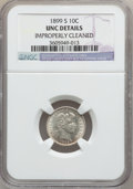 Barber Dimes: , 1899-S 10C -- Improperly Cleaned -- NGC Details. UNC. NGC Census:(1/66). PCGS Population (1/93). Mintage: 1,867,493. Numis...