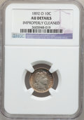 Barber Dimes: , 1892-O 10C -- Improperly Cleaned -- NGC Details. AU. NGC Census:(0/196). PCGS Population (8/217). Mintage: 3,841,700. Numi...