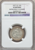 Seated Quarters: , 1877-CC 25C -- Improperly Cleaned -- NGC Details. VF. NGC Census:(3/414). PCGS Population (14/525). Mintage: 4,192,000. Nu...