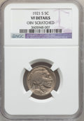 Buffalo Nickels: , 1921-S 5C -- Obv Scratched -- NGC Details. VF. NGC Census:(78/542). PCGS Population (112/780). Mintage: 1,557,000. Numisme...
