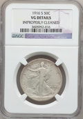 Walking Liberty Half Dollars: , 1916-S 50C -- Improperly Cleaned -- NGC Details. VG. NGC Census:(41/559). PCGS Population (68/975). Mintage: 508,000. Numi...