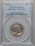 Buffalo Nickels: , 1918-S 5C -- Cleaning -- PCGS Genuine. VF Details. NGC Census:(9/541). PCGS Population (12/654). Mintage: 4,882,000. Numis...
