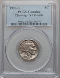 Buffalo Nickels: , 1920-S 5C -- Cleaning -- PCGS Genuine. XF Details. NGC Census:(15/543). PCGS Population (36/670). Mintage: 9,689,000. Numi...