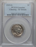 Buffalo Nickels: , 1919-S 5C -- Cleaning -- PCGS Genuine. XF Details. NGC Census:(29/518). PCGS Population (42/707). Mintage: 7,521,000. Numi...