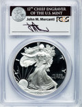 Modern Bullion Coins, 2001-W $1 One Ounce Silver Eagle Insert autographed By John M.Mercanti,12th Chief Engraver of the U.S. Mint PR70 Deep Cameo ...