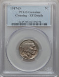 Buffalo Nickels, 1917-D 5C -- Cleaning -- PCGS Genuine. XF Details. Mintage:9,910,000....