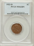 Lincoln Cents: , 1922-D 1C MS62 Brown PCGS. PCGS Population (29/101). NGC Census:(39/104). Mintage: 15,274,000. Numismedia Wsl. Price for p...