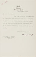 Autographs:Authors, Henry van Dyke, American Author. Typed Letter Signed. Very good....