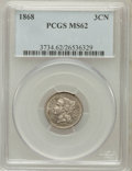 Three Cent Nickels: , 1868 3CN MS62 PCGS. PCGS Population (53/366). NGC Census: (68/321).Mintage: 3,252,000. Numismedia Wsl. Price for problem f...