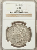 Morgan Dollars: , 1894-O $1 VF25 NGC. NGC Census: (54/3580). PCGS Population(76/3970). Mintage: 1,723,000. Numismedia Wsl. Price for problem...