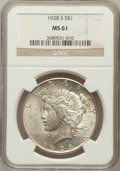 Peace Dollars: , 1928-S $1 MS61 NGC. NGC Census: (268/3316). PCGS Population(176/4670). Mintage: 1,632,000. Numismedia Wsl. Price for probl...