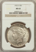 Peace Dollars: , 1922-S $1 MS62 NGC. NGC Census: (608/3731). PCGS Population(983/4441). Mintage: 17,475,000. Numismedia Wsl. Price for prob...
