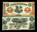 Canadian Currency: , Clifton, CAN- The Bank of Clifton $2 Sept. 1, 1861 Ch. 125-12-12;$5 Oct. 1, 1859 Ch. 125-10-02-06. ... (Total: 2 notes)