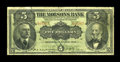 Canadian Currency: , Montreal, PQ- The Molsons Bank $5 Jan. 2, 1908 Ch. 490-30-02. ...
