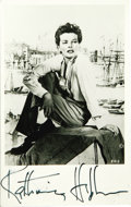 "Movie/TV Memorabilia:Autographs and Signed Items, Katharine Hepburn Signed Postcard. A vintage 3"" x 5"" postcardfeaturing a b&w image of Katharine Hepburn, signed by theactr... (Total: 1 Item)"