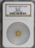 California Fractional Gold: , 1856 25C Liberty Round 25 Cents, BG-229, R.4, MS64 NGC. PCGSPopulation (8/1). (#10414)...