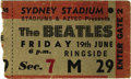 Music Memorabilia:Tickets, Beatles Sydney Stadium Ticket 1964 Stub. A used stub from the June 19, 1964 show at the Sydney Stadium in Australia -- the s... (Total: 1 Item)