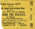 Movie/TV Memorabilia:Tickets, Beatles Sam Houston Coliseum Concert Ticket Stub. Beatlemania wasrunning high during these two shows in Houston on August 1...(Total: 1 Item)