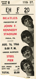 Music Memorabilia:Tickets, Beatles Kennedy Stadium 1966 Ticket Stub. Almost constant lightningthreatened to cut this show short, but fortunately for 2... (Total:1 Item)