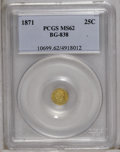 California Fractional Gold: , 1871 25C Liberty Round 25 Cents, BG-838, R.2, MS62 PCGS. PCGSPopulation (124/75). (#10699)...