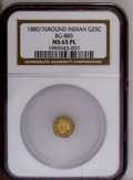 California Fractional Gold: , 1880/76 25C Indian Round 25 Cents, BG-885, R.3, MS65 NGC. PCGSPopulation (17/1). (#10746)...