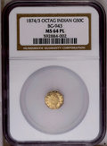 California Fractional Gold: , 1874/3 50C Indian Octagonal 50 Cents, BG-943, High R.4, MS64Prooflike NGC. PCGS Population (12/2). (#1...